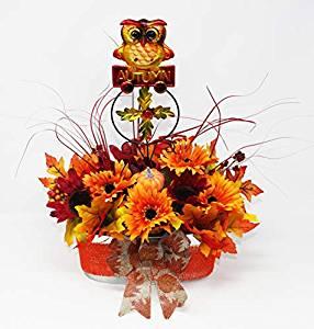 Festive autumn decor centerpiece with 15 amazon gift card festive autumn decor centerpiece with owl metal pinwheel and decorative autumn silk flowers and foliage mightylinksfo